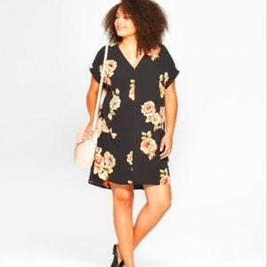 a new day Rose Shift Black Short Sleeve Dress S